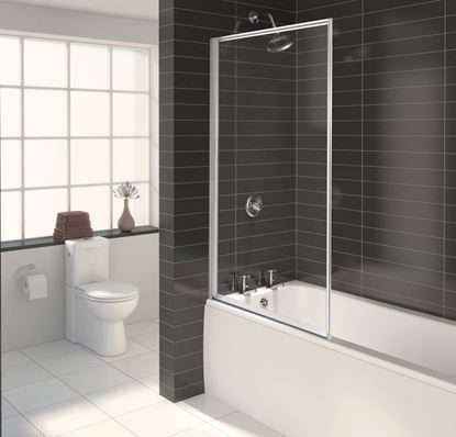 Picture of Aqualux Euro Framed Bath Screen - White Height - 1375mm