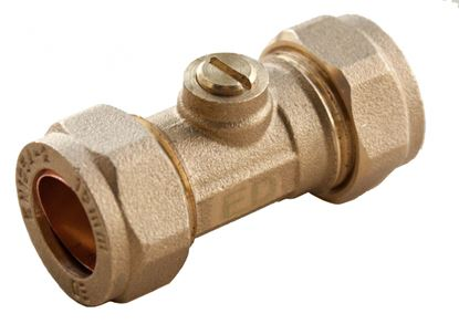 Picture of Oracstar Compression Isolating Valve 15 x 15mm Slotted Brass