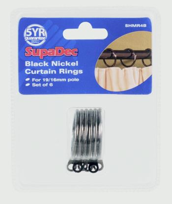 Picture of SupaDec Curtain Rings Pack 6 Black Nickel