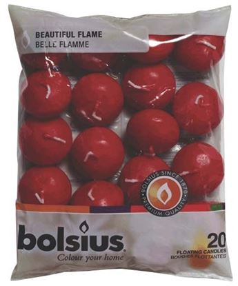 Picture of Bolsius Floating Candles Bag 20 Wine Red