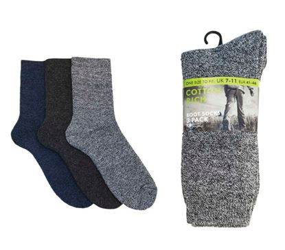 Picture of Cotton Rich Mens Boot Socks Pack 3 UK 7-11