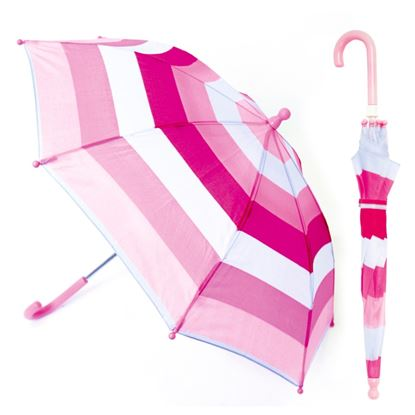Picture of Drizzles Childs Pink Striped Umbrella Pink Only