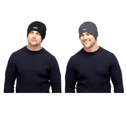 Picture of Heatguard Mens Thinsulate Beanie Hat Without Turnup Black  Dark Grey