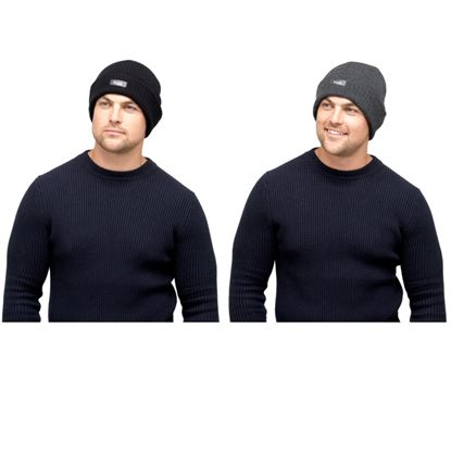 Picture of Heatguard Mens Thinsulate Ribbed Knitted Hat Black  Dark Grey