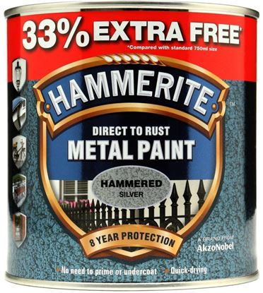Picture of Hammerite Metal Paint Hammered 750ml  33 Free Silver