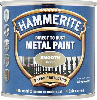 Picture of Hammerite Metal Paint Smooth 250ml Gold