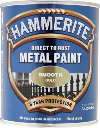 Picture of Hammerite Metal Paint Smooth 750ml Gold