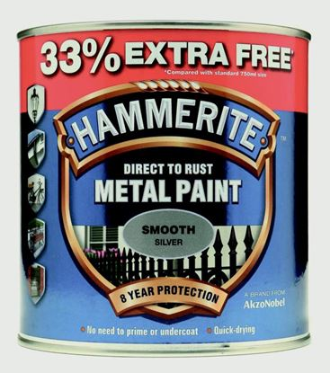 Picture of Hammerite Metal Paint Smooth 750ml  33 Free Silver
