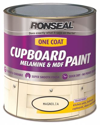 Picture of Ronseal One Coat Cupboard Melamine  MDF Paint 750ml Magnolia