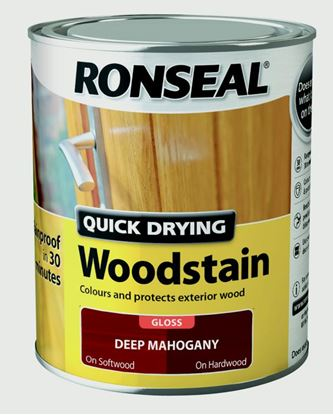 Picture of Ronseal Quick Drying Woodstain Gloss 750ml Deep Mahogany