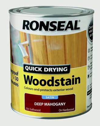 Picture of Ronseal Quick Drying Woodstain Satin 750ml Deep Mahogany