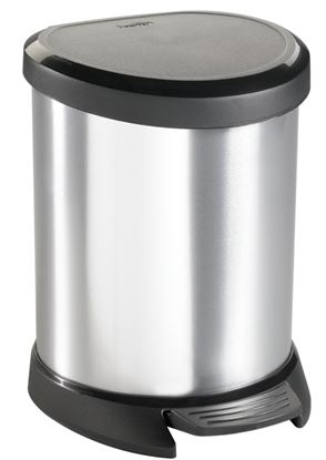 Picture of Curver Deco Pedal Bin Silver Black Lid 5L