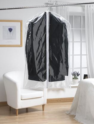 Picture of H  L Russel Short Garment Cover Twin Pack Clear 97cm x 61cm