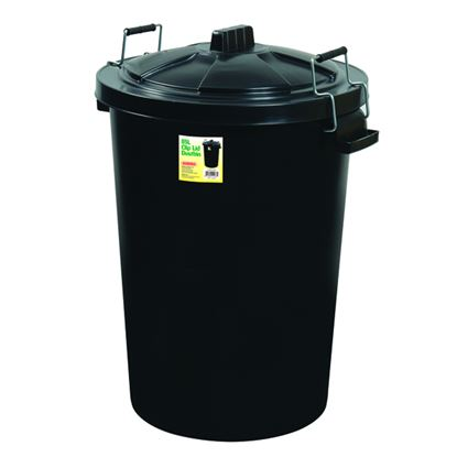 Picture of Proplas 85L Clip Lid Dustbin Black