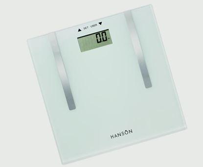 Picture of Hanson Body Fat Bathroom Scale White Glass 150kg