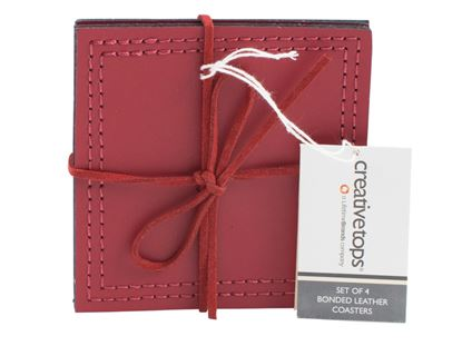 Picture of Creative Tops Bonded Leather Coasters Pack 4 Red