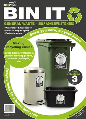 Picture of Bin It General Waste Recycling Stickers Pack 3