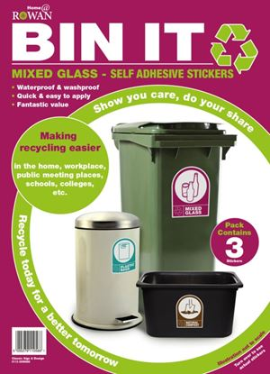 Picture of Bin It Mixed Glass Recycling Stickers Pack 3