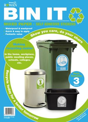 Picture of Bin It Mixed Paper Recycling Stickers Pack 3