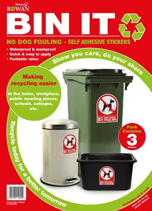 Picture of Bin It No Dog Fouling Recycling Stickers Pack 3