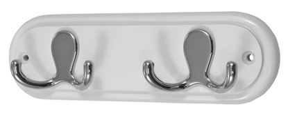 Picture of Headbourne 2 Double Robe Hooks Polished Chrome Effect on Solid White Round End Board 225 x 70mm