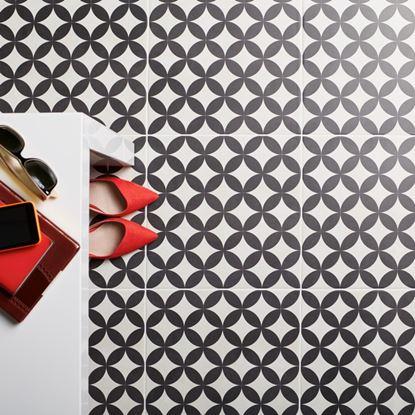 Picture of British Ceramic Tile Feature Floors Bertie Black  Ivory 331x331mm  Black  Ivory