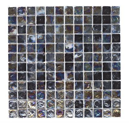 Picture of British Ceramic Tile Black Hammered Glass Mosaic 305x305mm  Black