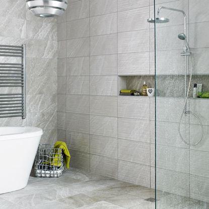 Picture of British Ceramic Tile HD Origin Ditto Wave Dark Grey Dcor 248x498mm  Dark Grey