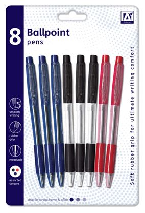 Picture of A Star Ballpoint Pens With Grips Pack 8