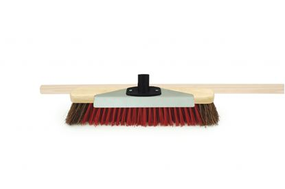 Picture of Bentley Brush with Scraper and Wooden Handle 16 Natural Bassine and Red PVC
