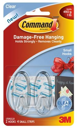 Picture of Command Clear Hooks Small. 2 hooks 4 medium strips