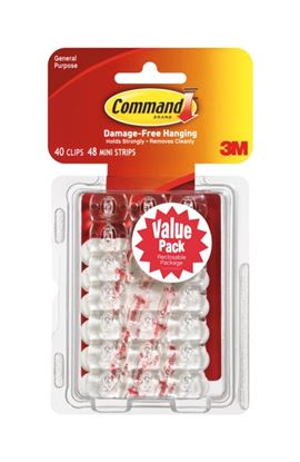 Picture of Command General Purpose Clips Value Pack of 40 Clips 48 Mini Strips