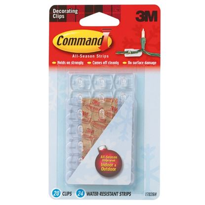 Picture of Command Indoor Outdoor Decorating Clips 20 Clips 24 Water resistant strips