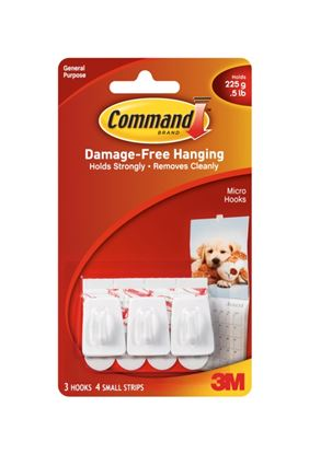 Picture of Command Micro Hooks 3 hooks 4 small strips