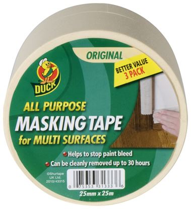 Picture of Duck Tape All Purpose Masking Tape Beige 25mm x 25m Triple Pack