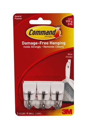 Picture of Command Wire Hooks 3 hooks 4 small strips
