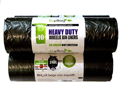 Picture of Ecobag 10 Wheelie Bin Liners Black 240L