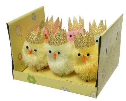 Picture of Kaemingk Chenille Chicken Crown Box 6 Assorted