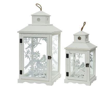 Picture of Kaemingk Firwood Birds Lantern White