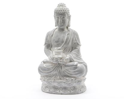 Picture of Kaemingk Buddha Tealight Holder With Glass Grey