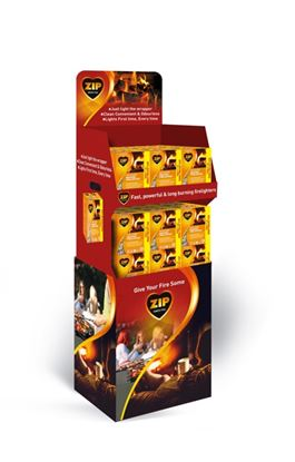 Picture of Zip Fast  Clean Wrapped Firelighters Display Unit 36 x Pack of 16 Plus 25 Free
