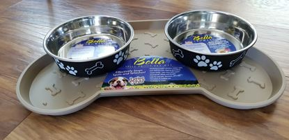 Picture of Loving Pet Bella Dog Tray With 2 Bowls