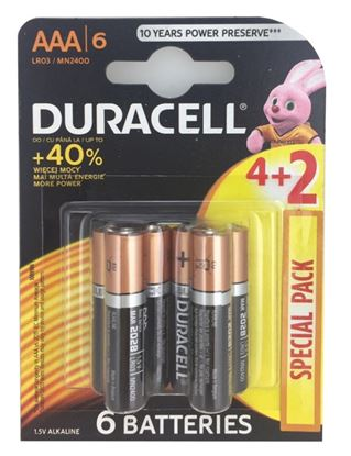 Picture of Duracell 4 Plus 2 Pack Batteries AAA