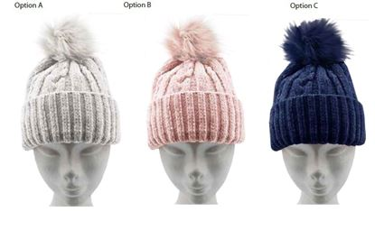 Picture of RJM Ladies Chenille Hat With Bobble