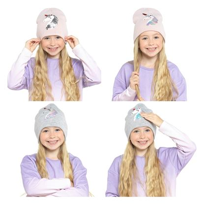 Picture of RJM Kids Beanie Hat With Reversible Sequin Unicorn