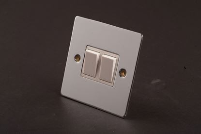 Picture of Dencon 10a 2 Gang 2 way Switch Polished Chrome