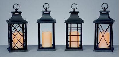 Picture of Premier Black Flicker Candle Lantern 27cm Battery Operated