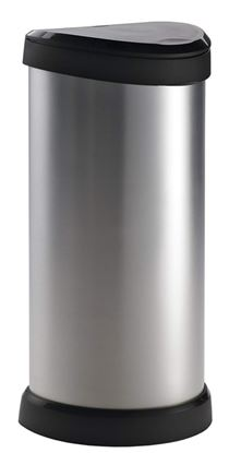 Picture of Curver Deco Black  Silver Push Bin 40L