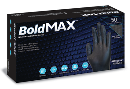 Picture of Aurelia BoldMAX Black Powder Free Nitrile Gloves Large - Pack 50