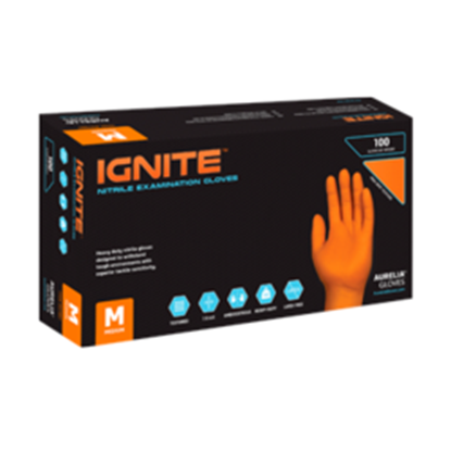 Picture of Aurelia Ignite Orange Nitrile Powder Free Gloves Large - Pack 100